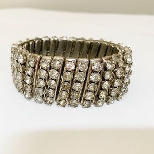 Vintage Rhinestone Accordion Stretch Bracelet